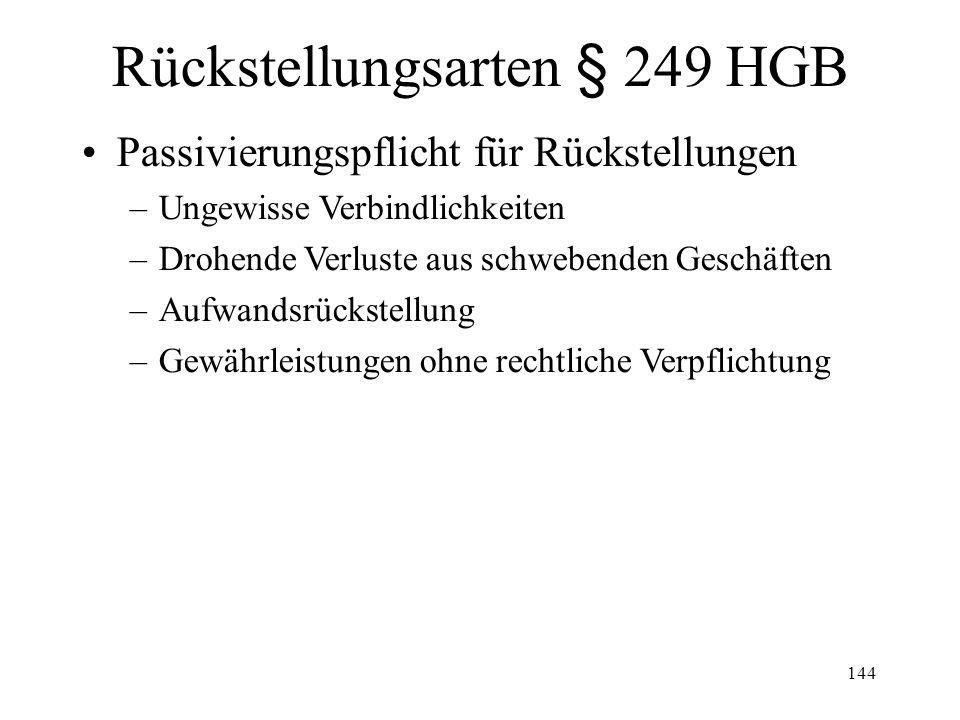 Rückstellungsarten § 249 HGB
