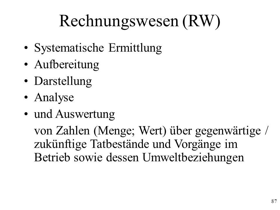 Rechnungswesen (RW) Systematische Ermittlung Aufbereitung Darstellung