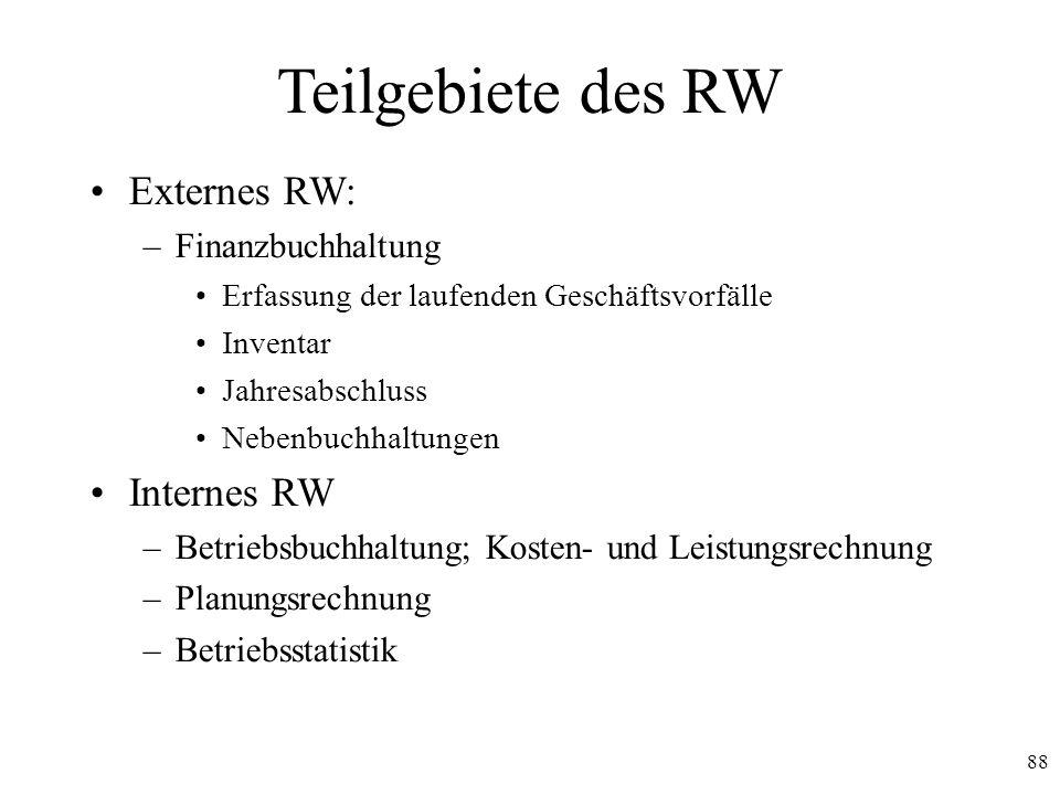 Teilgebiete des RW Externes RW: Internes RW Finanzbuchhaltung
