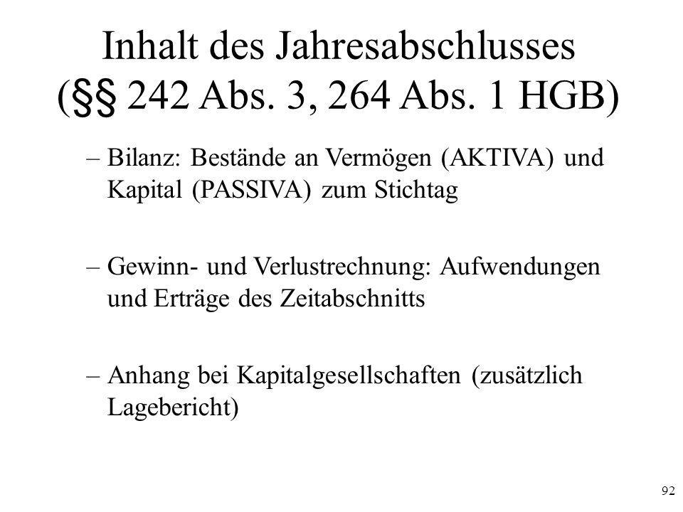 Inhalt des Jahresabschlusses (§§ 242 Abs. 3, 264 Abs. 1 HGB)