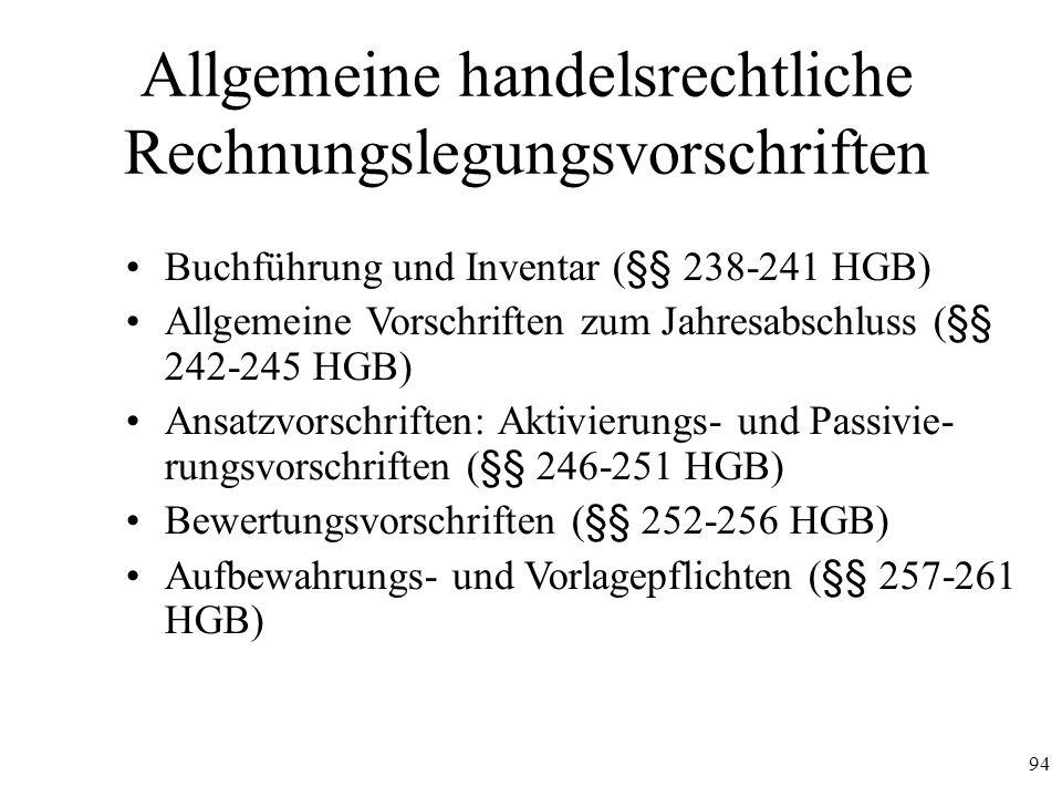 Allgemeine handelsrechtliche Rechnungslegungsvorschriften