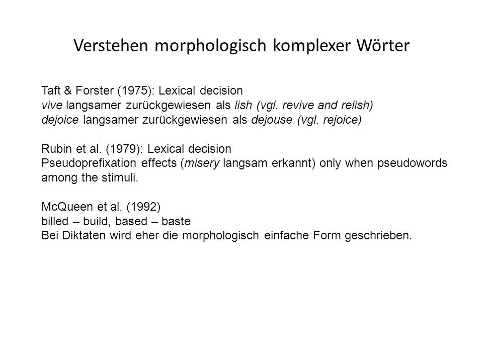 Verstehen morphologisch komplexer Wörter