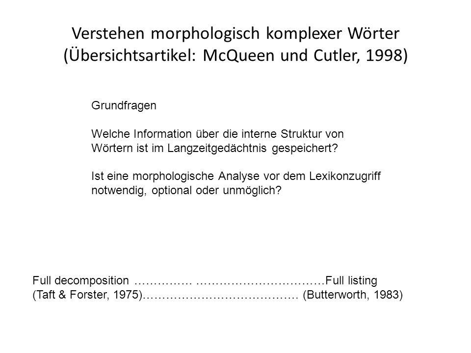 Verstehen morphologisch komplexer Wörter (Übersichtsartikel: McQueen und Cutler, 1998)