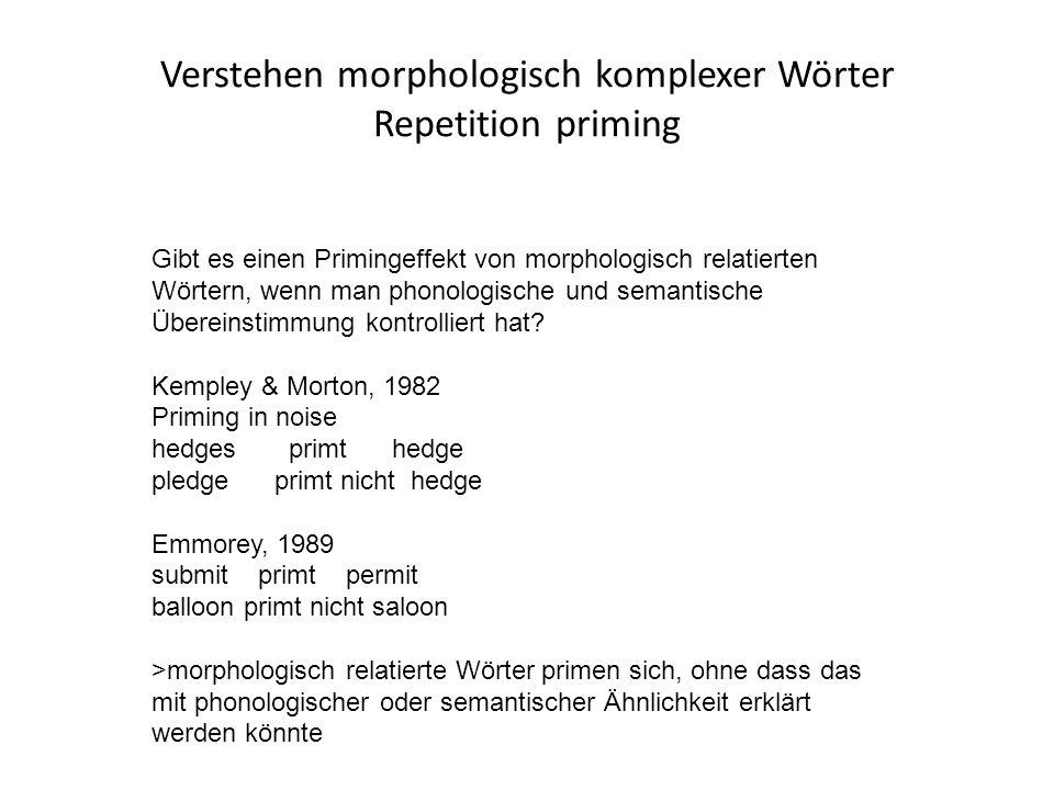 Verstehen morphologisch komplexer Wörter Repetition priming