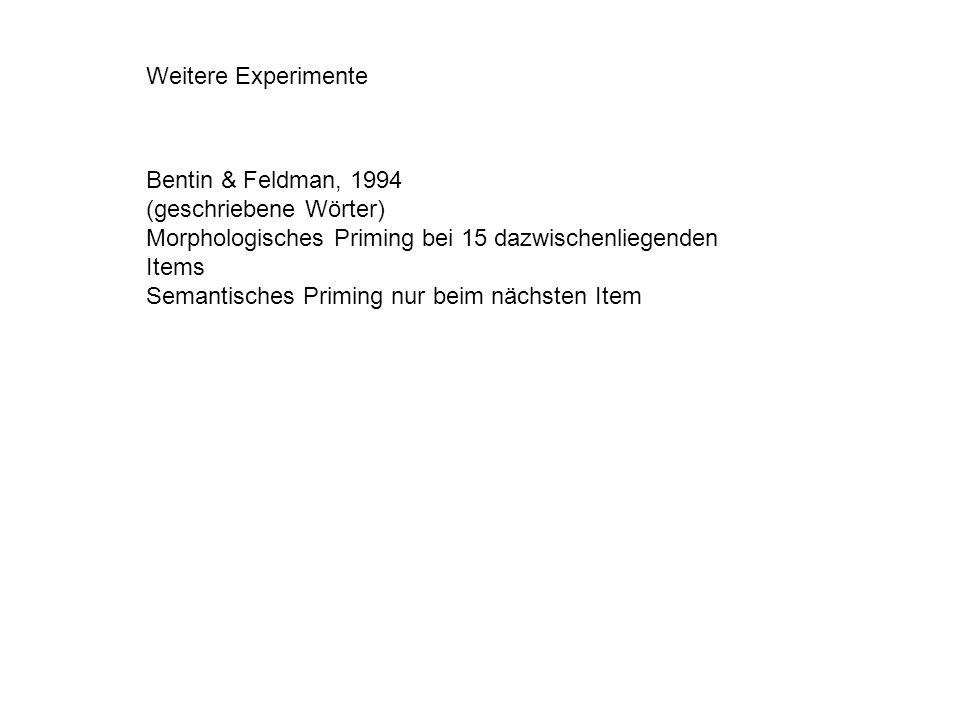 Weitere Experimente Bentin & Feldman, 1994. (geschriebene Wörter) Morphologisches Priming bei 15 dazwischenliegenden Items.