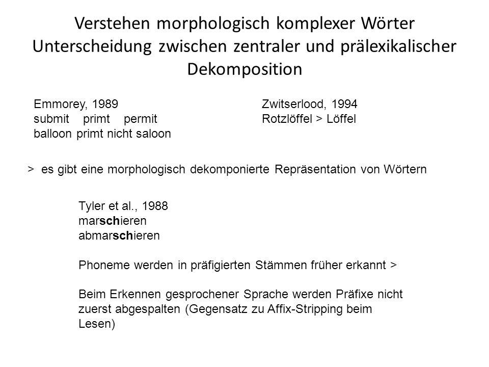 Verstehen morphologisch komplexer Wörter Unterscheidung zwischen zentraler und prälexikalischer Dekomposition