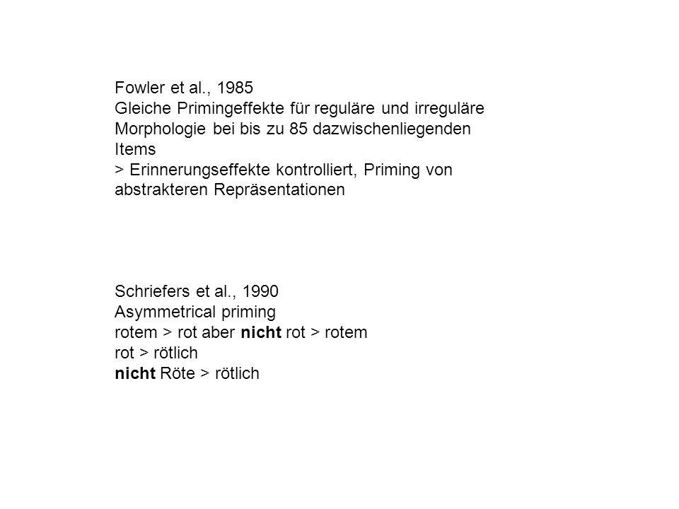 Fowler et al., 1985 Gleiche Primingeffekte für reguläre und irreguläre Morphologie bei bis zu 85 dazwischenliegenden Items.