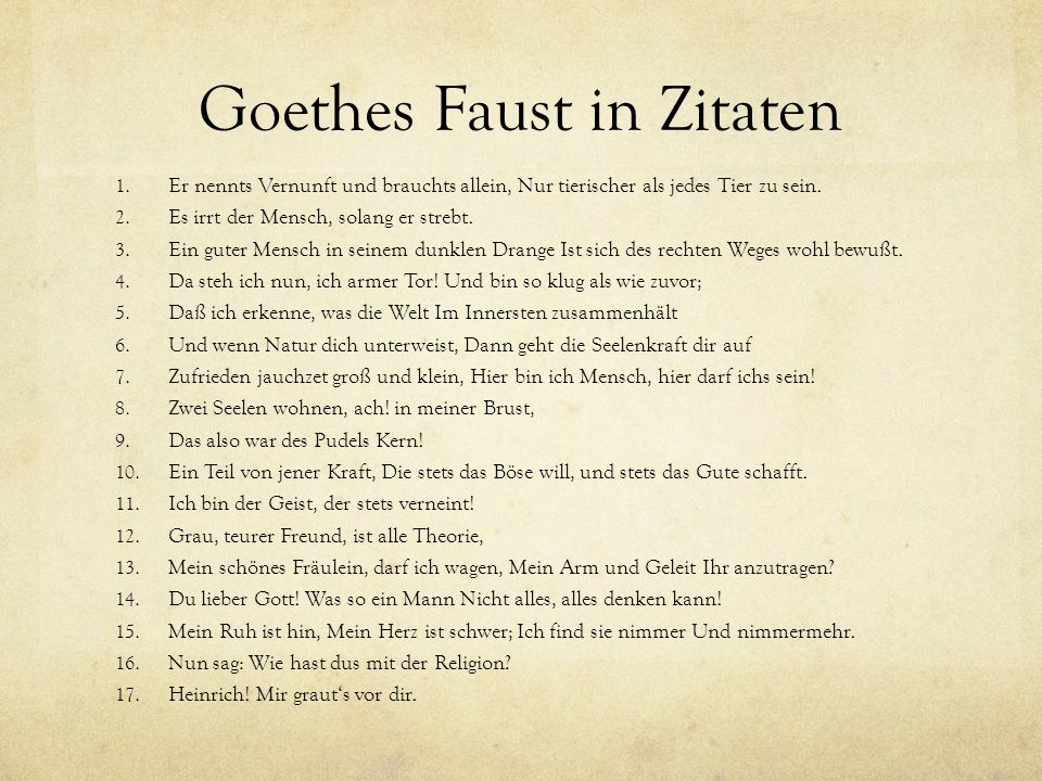 Goethes Faust in Zitaten