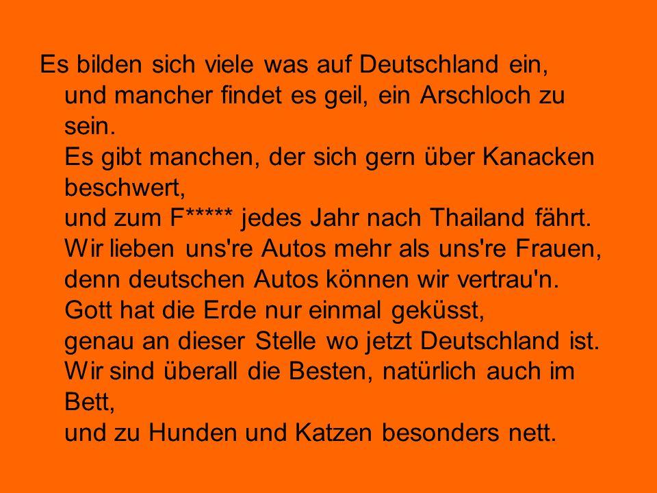 Es bilden sich viele was auf Deutschland ein, und mancher findet es geil, ein Arschloch zu sein.