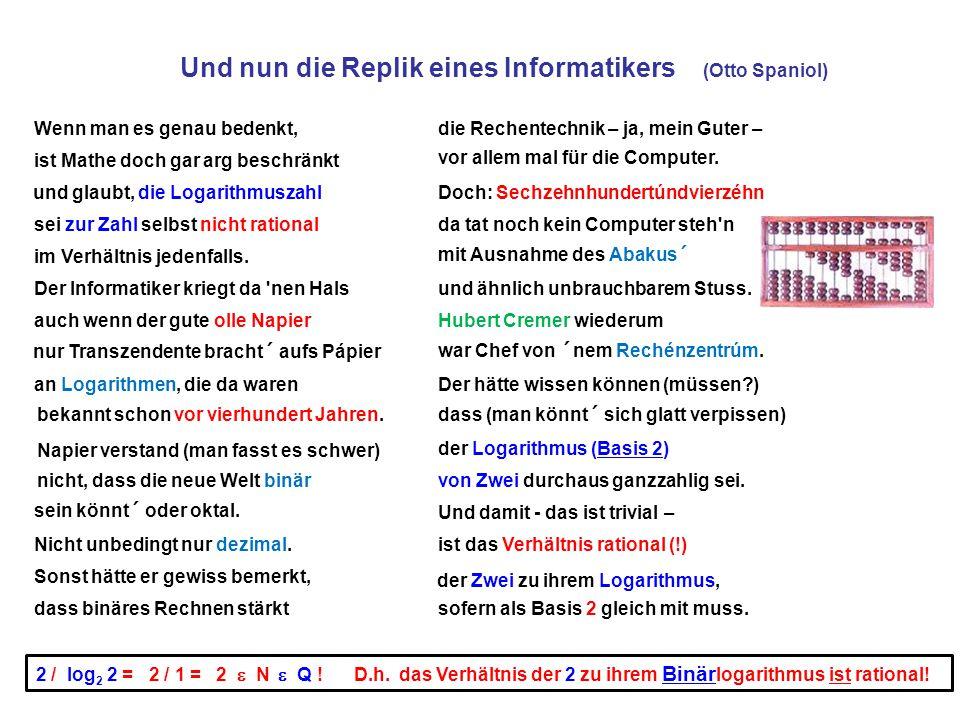 Und nun die Replik eines Informatikers (Otto Spaniol)