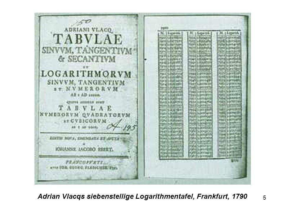 Adrian Vlacqs siebenstellige Logarithmentafel, Frankfurt, 1790