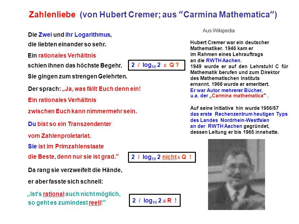 Zahlenliebe (von Hubert Cremer; aus Carmina Mathematica )
