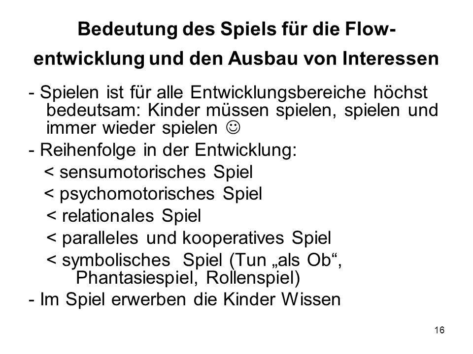 Bedeutung des Spiels für die Flow-entwicklung und den Ausbau von Interessen