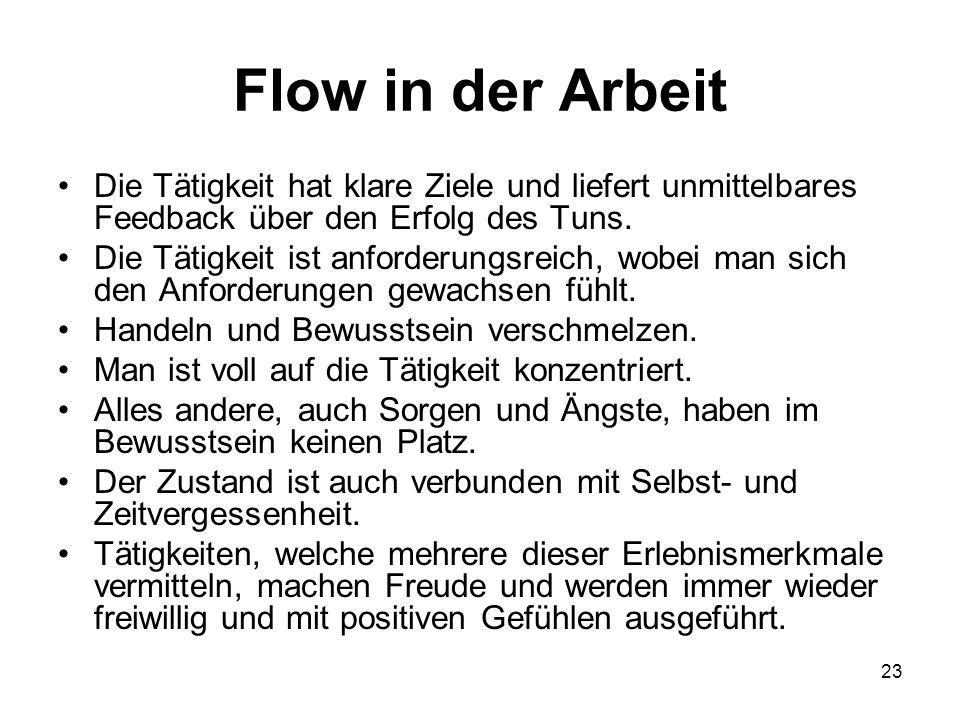Flow in der Arbeit Die Tätigkeit hat klare Ziele und liefert unmittelbares Feedback über den Erfolg des Tuns.
