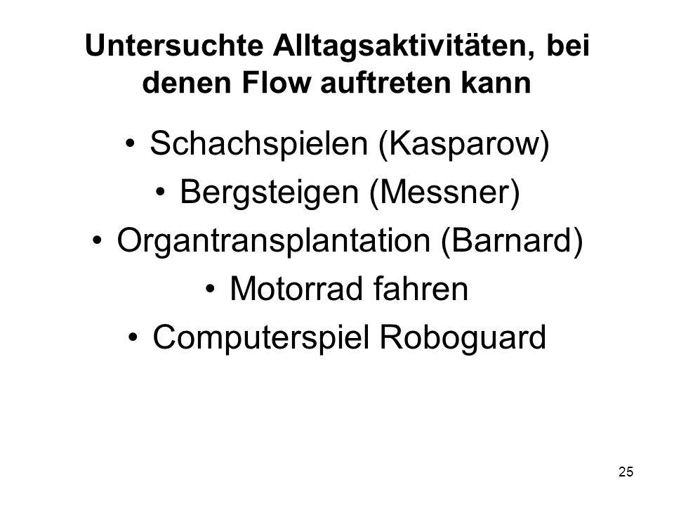 Untersuchte Alltagsaktivitäten, bei denen Flow auftreten kann