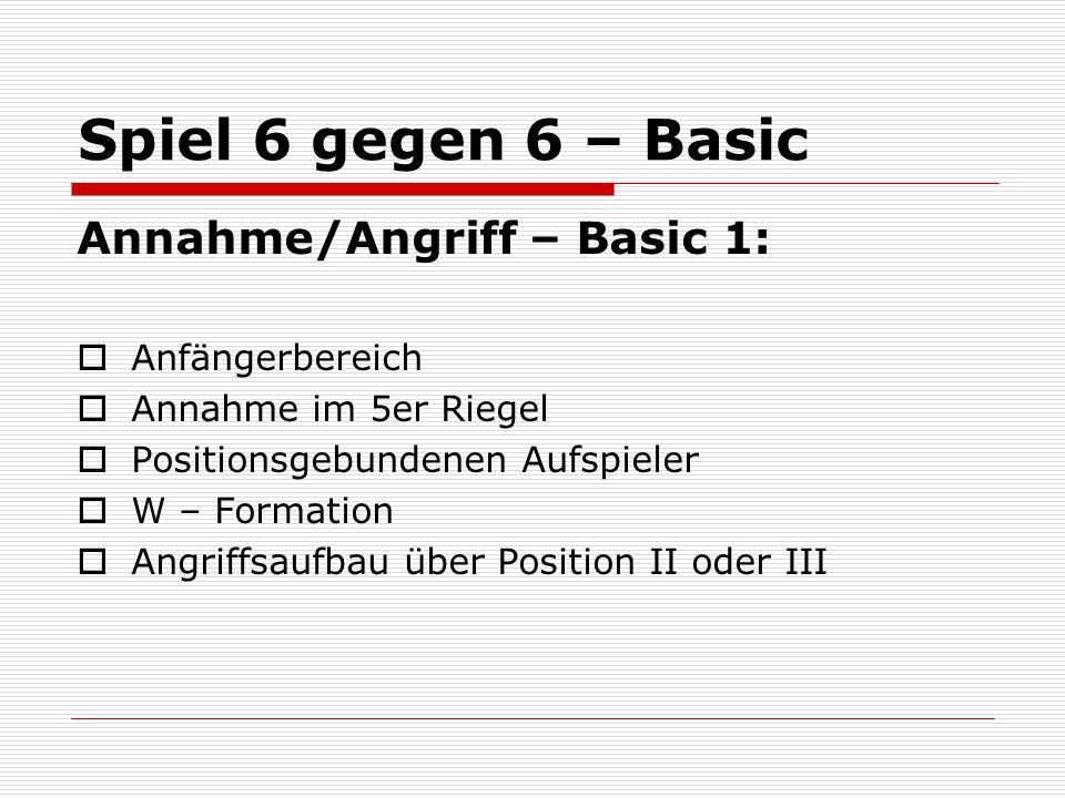 Spiel 6 gegen 6 – Basic Annahme/Angriff – Basic 1: Anfängerbereich