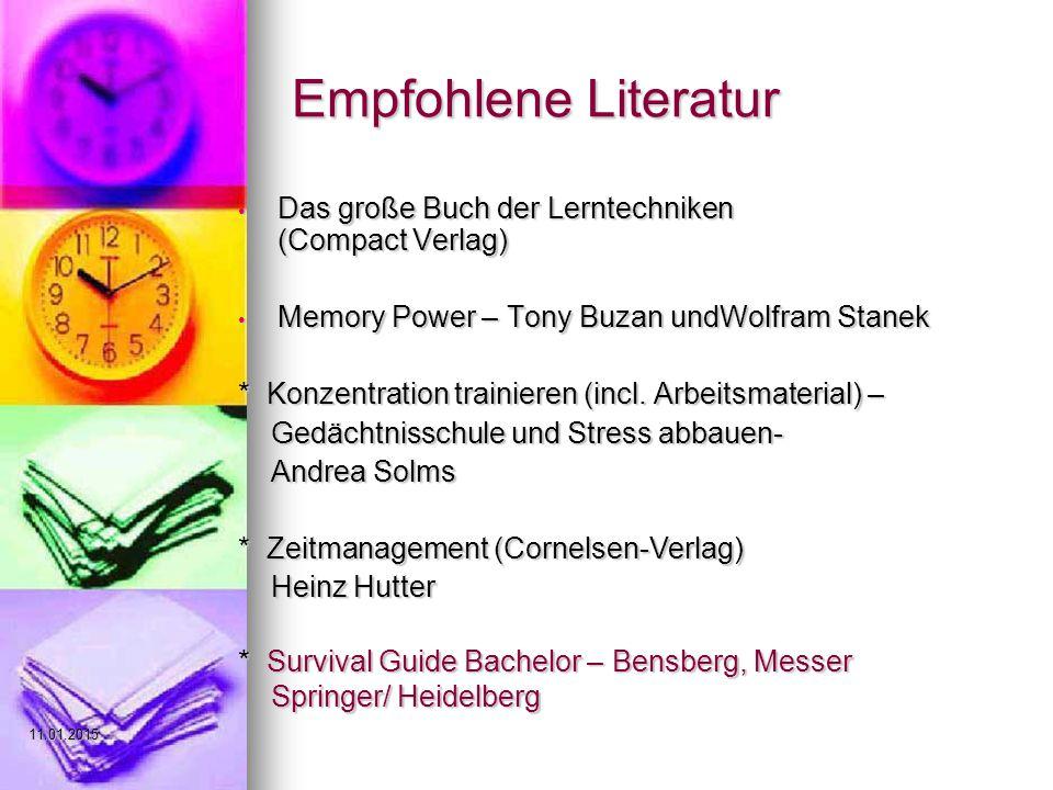 Empfohlene Literatur Das große Buch der Lerntechniken (Compact Verlag)