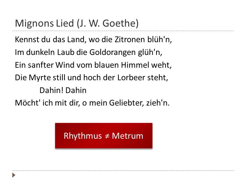 Mignons Lied (J. W. Goethe)