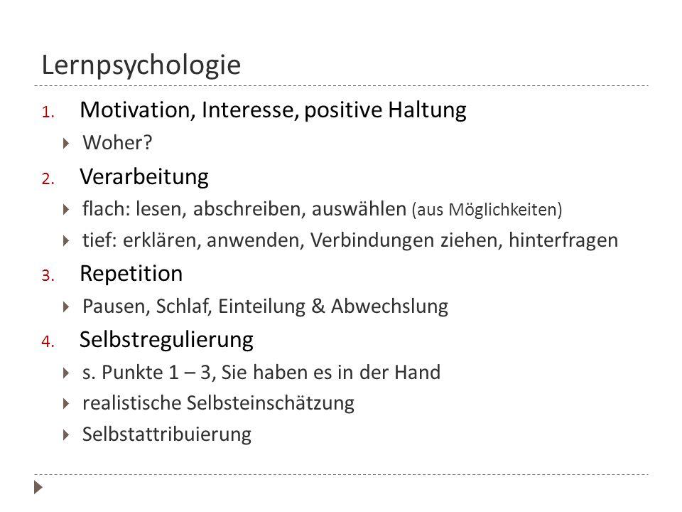 Lernpsychologie Motivation, Interesse, positive Haltung Verarbeitung