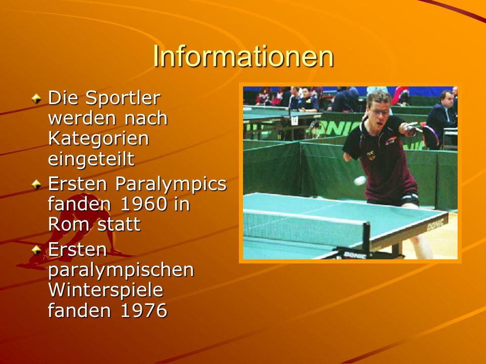 Informationen Die Sportler werden nach Kategorien eingeteilt