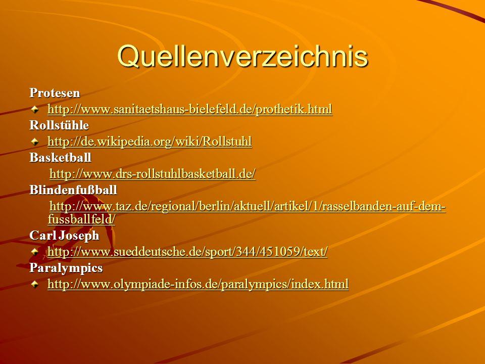 Quellenverzeichnis Protesen