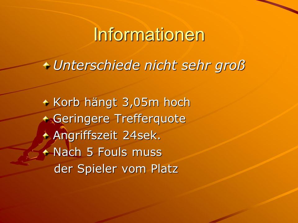 Informationen Unterschiede nicht sehr groß Korb hängt 3,05m hoch