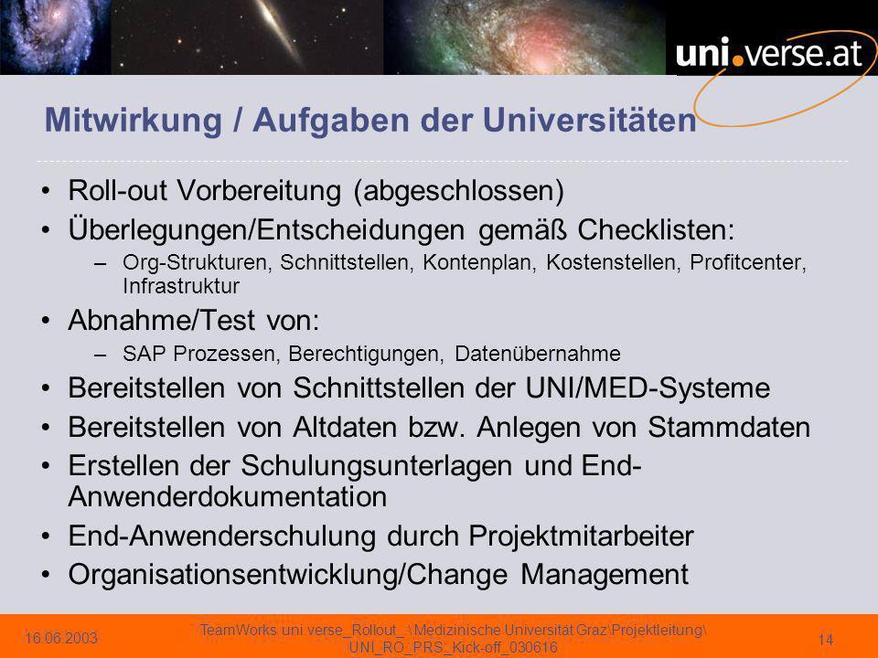 Mitwirkung / Aufgaben der Universitäten