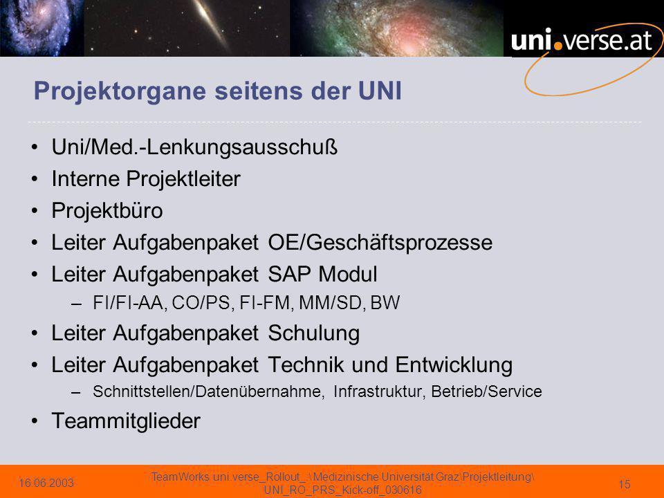 Projektorgane seitens der UNI