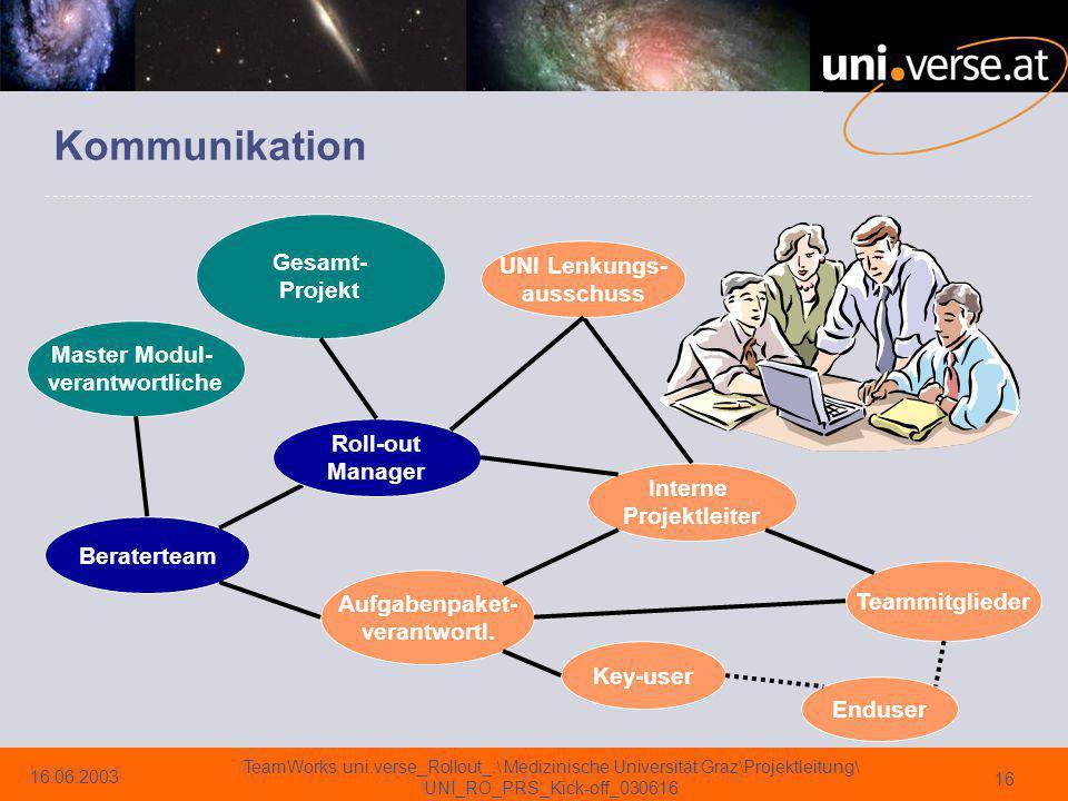 Kommunikation Gesamt- Projekt UNI Lenkungs- ausschuss Master Modul-