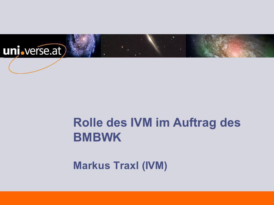 Rolle des IVM im Auftrag des BMBWK Markus Traxl (IVM)
