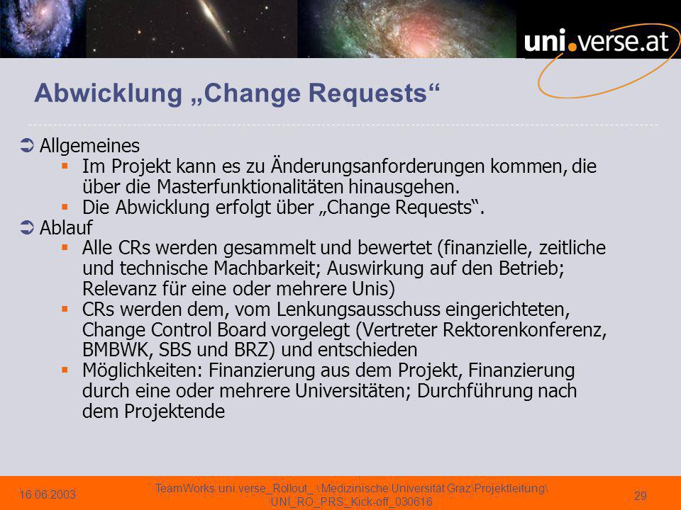 "Abwicklung ""Change Requests"