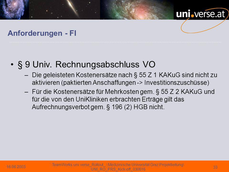 § 9 Univ. Rechnungsabschluss VO