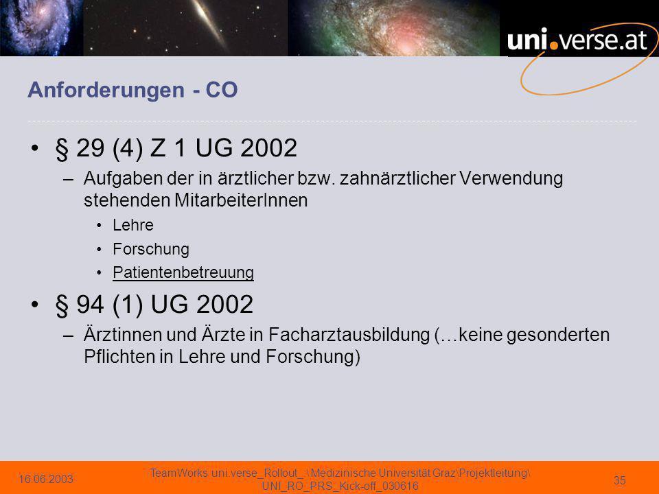 § 29 (4) Z 1 UG 2002 § 94 (1) UG 2002 Anforderungen - CO