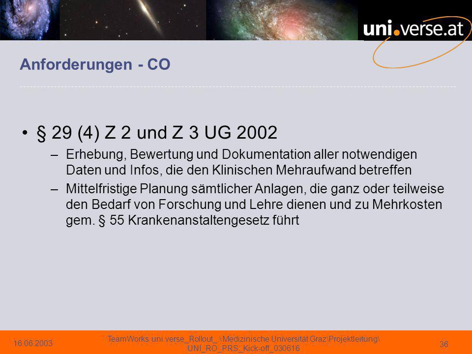 § 29 (4) Z 2 und Z 3 UG 2002 Anforderungen - CO