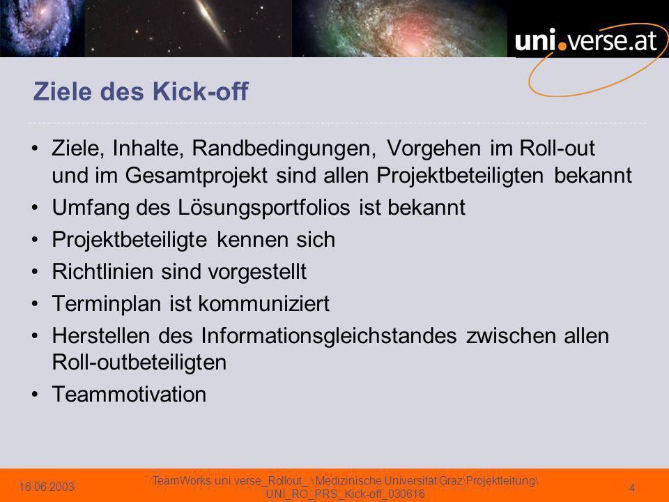 Ziele des Kick-off Ziele, Inhalte, Randbedingungen, Vorgehen im Roll-out und im Gesamtprojekt sind allen Projektbeteiligten bekannt.