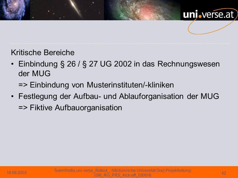 Kritische Bereiche Einbindung § 26 / § 27 UG 2002 in das Rechnungswesen der MUG. => Einbindung von Musterinstituten/-kliniken.