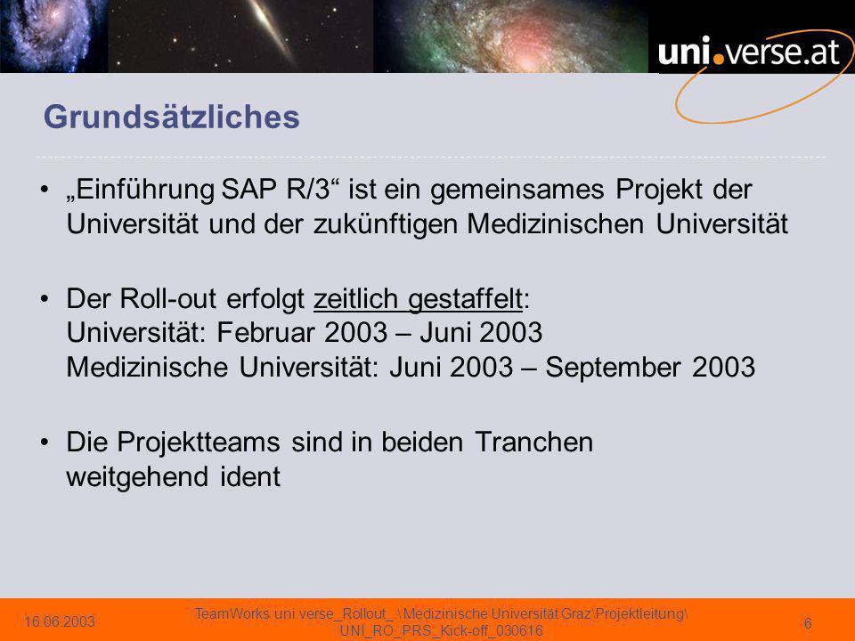 """Grundsätzliches """"Einführung SAP R/3 ist ein gemeinsames Projekt der Universität und der zukünftigen Medizinischen Universität."""