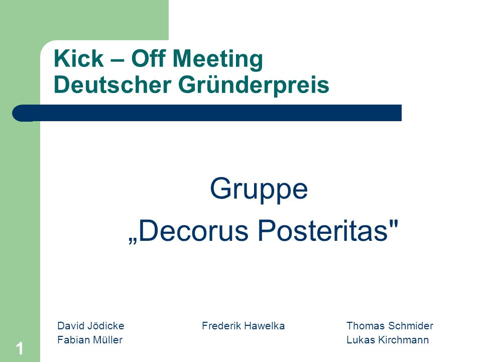Kick – Off Meeting Deutscher Gründerpreis