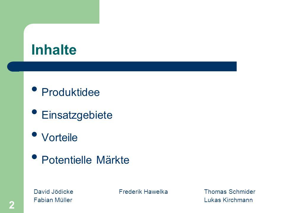 Inhalte Produktidee Einsatzgebiete Vorteile Potentielle Märkte