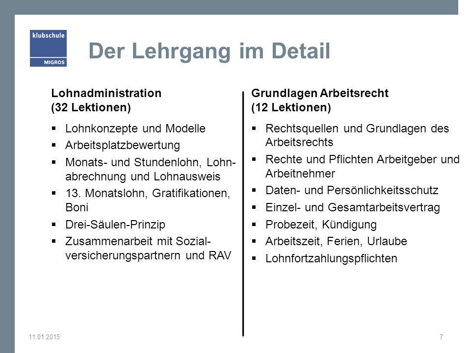 Der Lehrgang im Detail Lohnadministration (32 Lektionen)