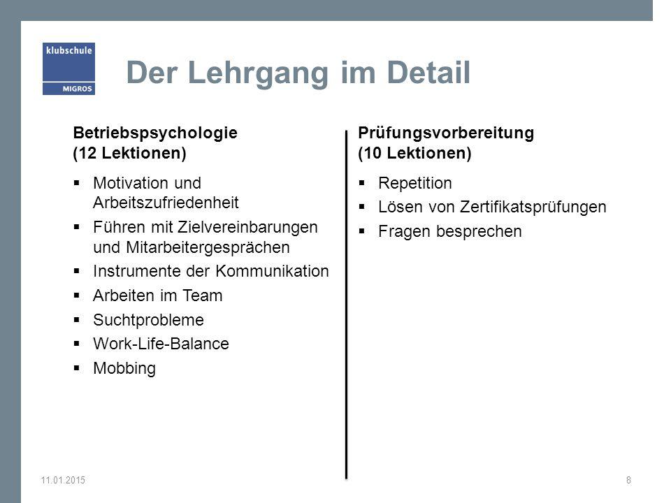 Der Lehrgang im Detail Betriebspsychologie (12 Lektionen)