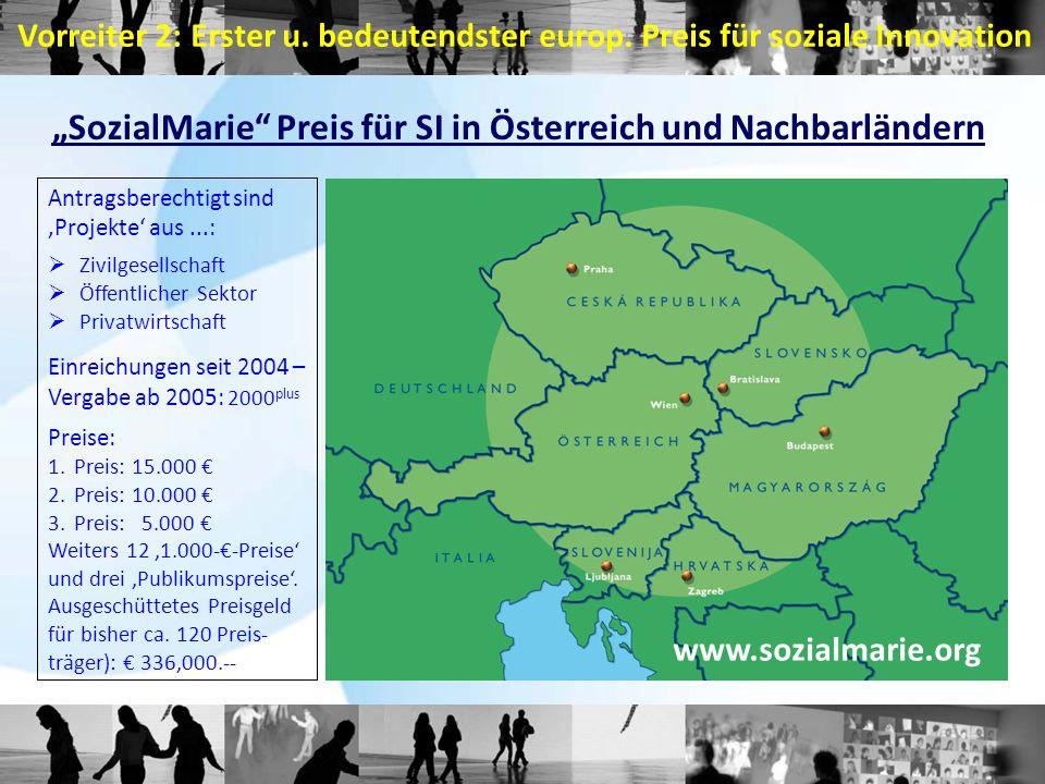 """""""SozialMarie Preis für SI in Österreich und Nachbarländern"""