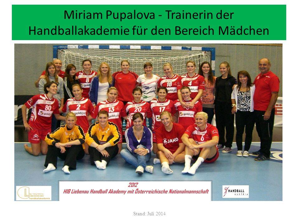 Miriam Pupalova - Trainerin der Handballakademie für den Bereich Mädchen