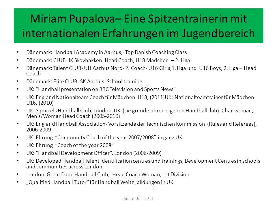 Miriam Pupalova– Eine Spitzentrainerin mit internationalen Erfahrungen im Jugendbereich