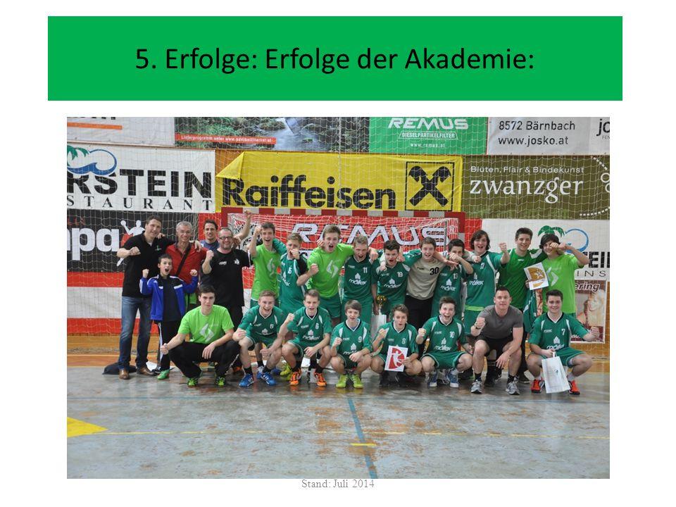 5. Erfolge: Erfolge der Akademie: