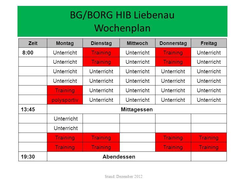 BG/BORG HIB Liebenau Wochenplan