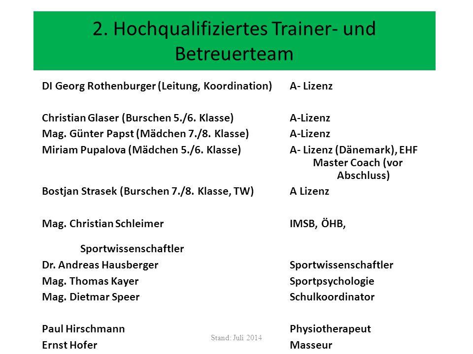 2. Hochqualifiziertes Trainer- und Betreuerteam