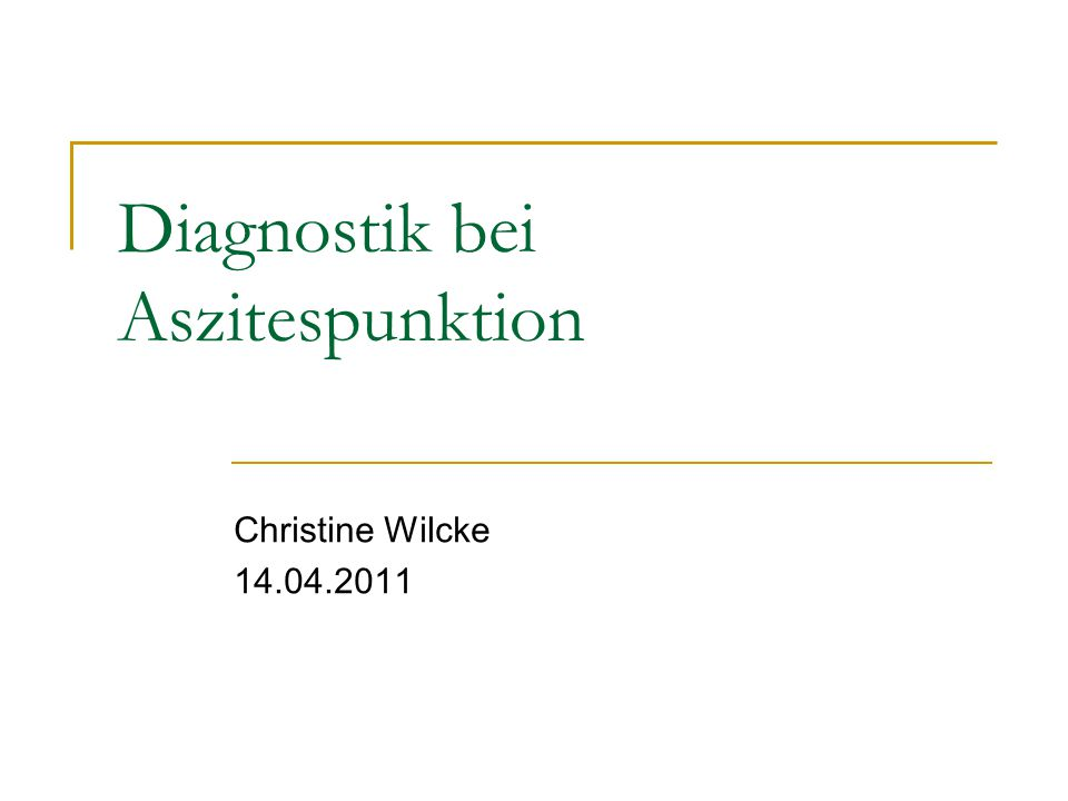 Diagnostik bei Aszitespunktion