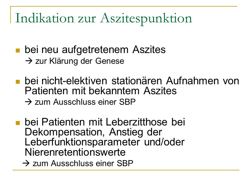 Indikation zur Aszitespunktion