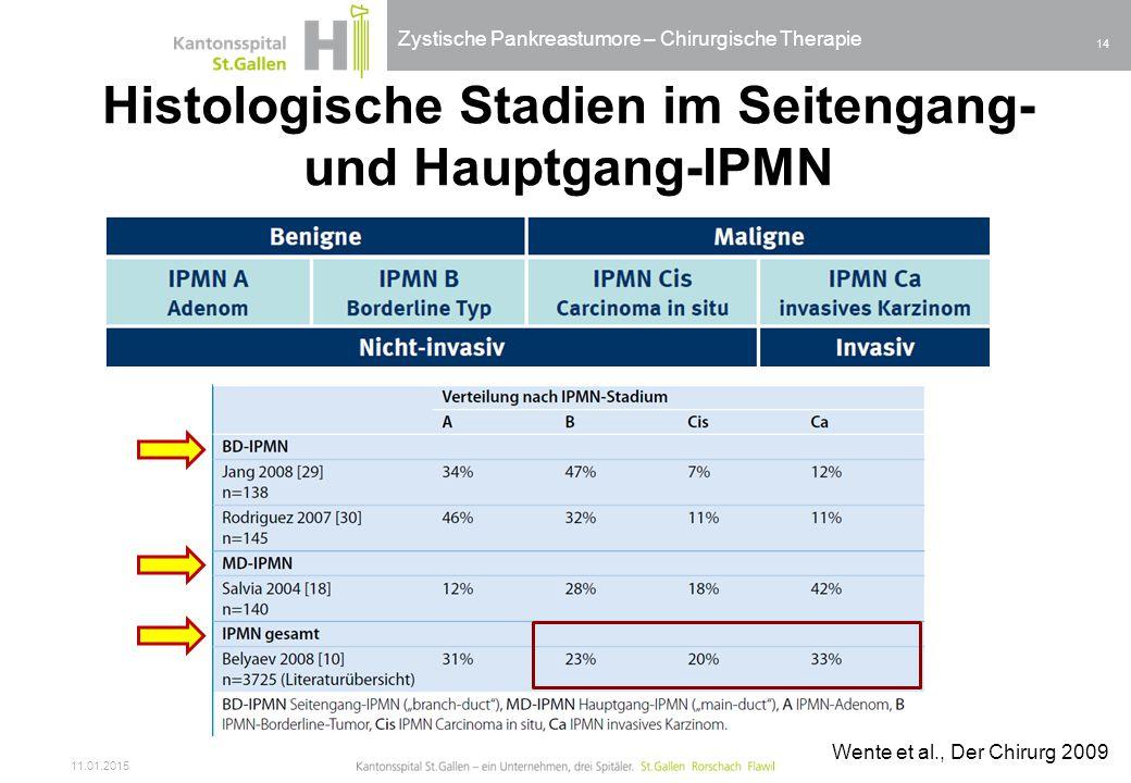 Histologische Stadien im Seitengang- und Hauptgang-IPMN